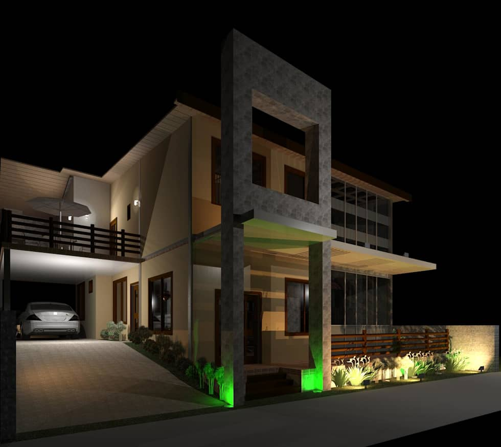 Vista Nocturna desde el acceso: Casas de estilo moderno por Diseño Store