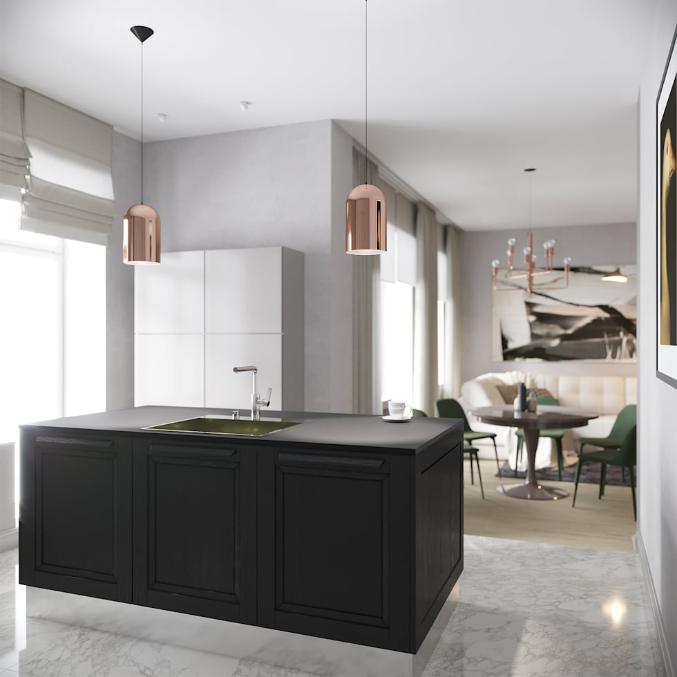 Modern Kitchen with a touch of copper :  Built-in kitchens by Atelier Lane   Interior Design