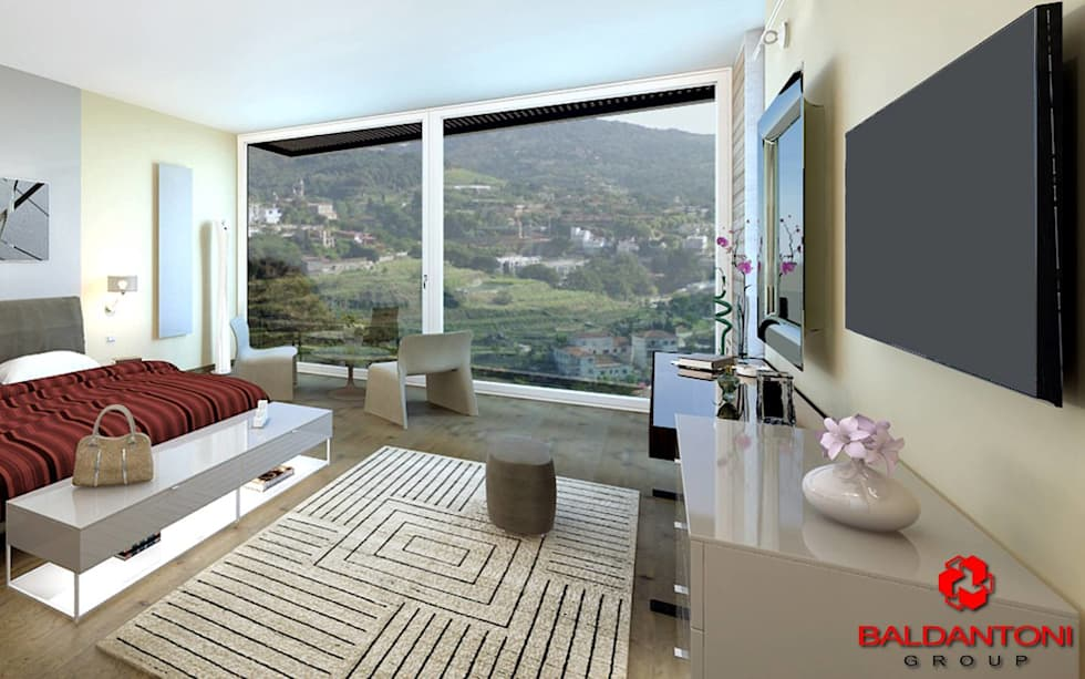 Camera da letto padronale con vista panoramica: Camera da letto in stile in stile Moderno di Baldantoni Group