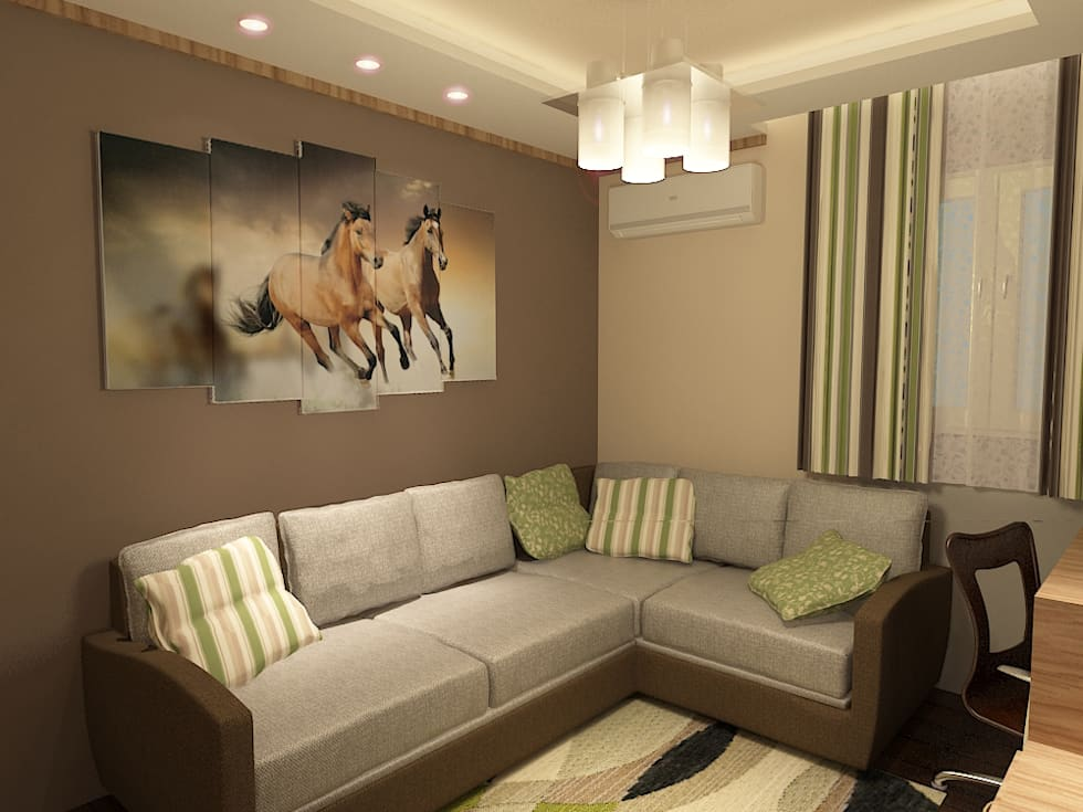 living room render 2 :  غرفة المعيشة تنفيذ Quattro designs