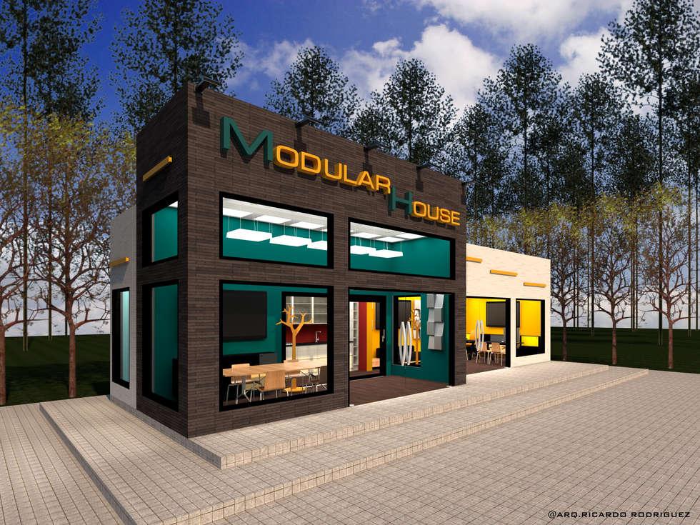 Vista Frontal Izquierda: Oficinas y Tiendas de estilo  por RR Arquitecto