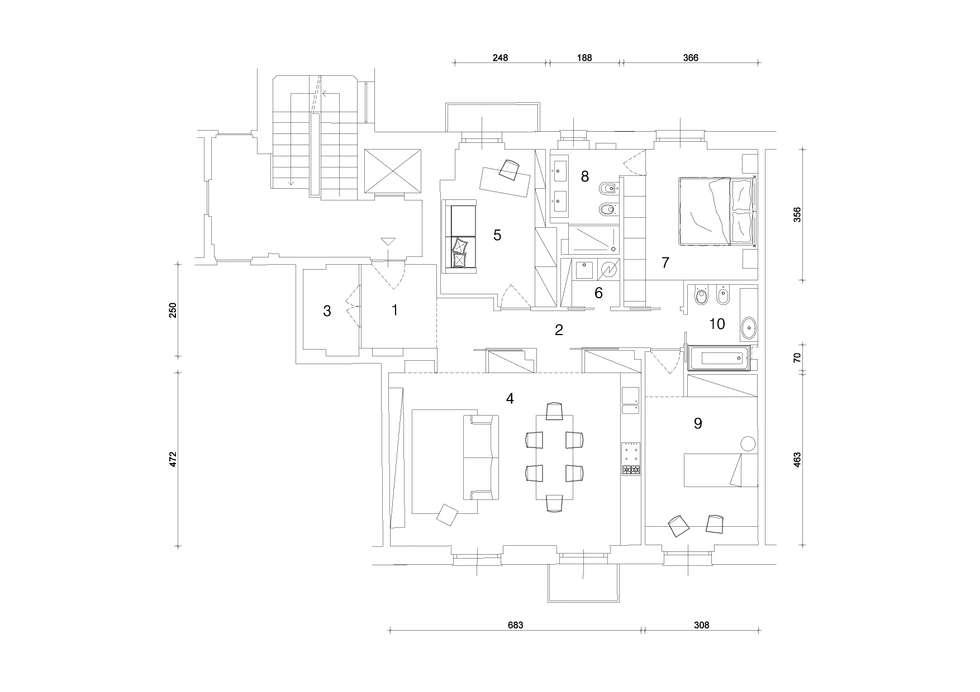 planimetria: Case in stile in stile Minimalista di studio ferlazzo natoli