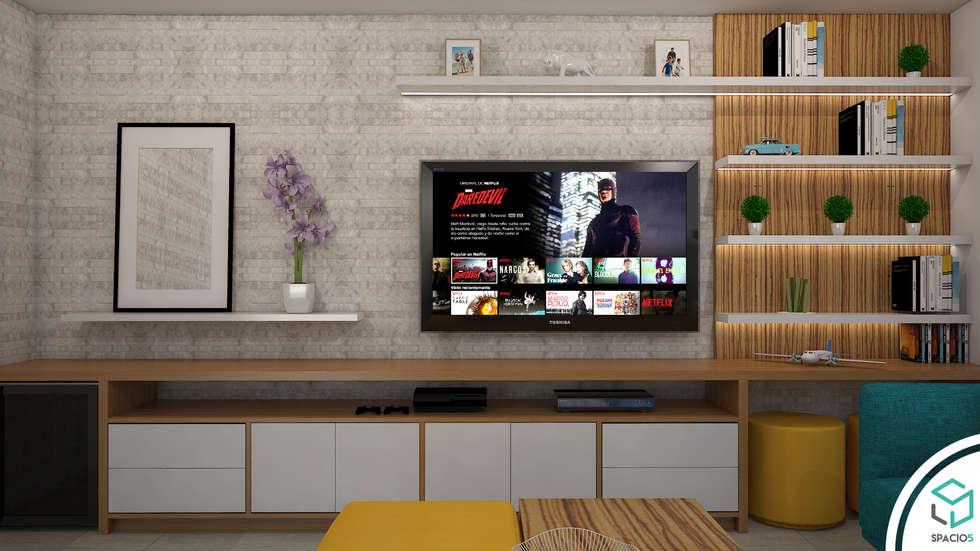 Centro de entretenimiento : Salas de entretenimiento de estilo moderno por Spacio5