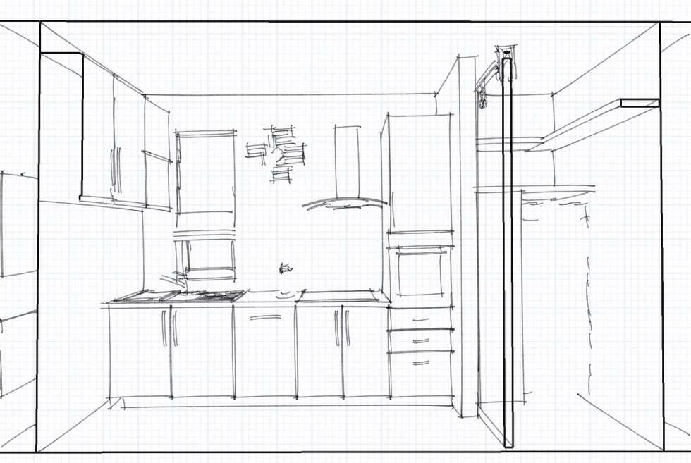 Bozza progetto: Cucina in stile in stile Moderno di INTERNO 75