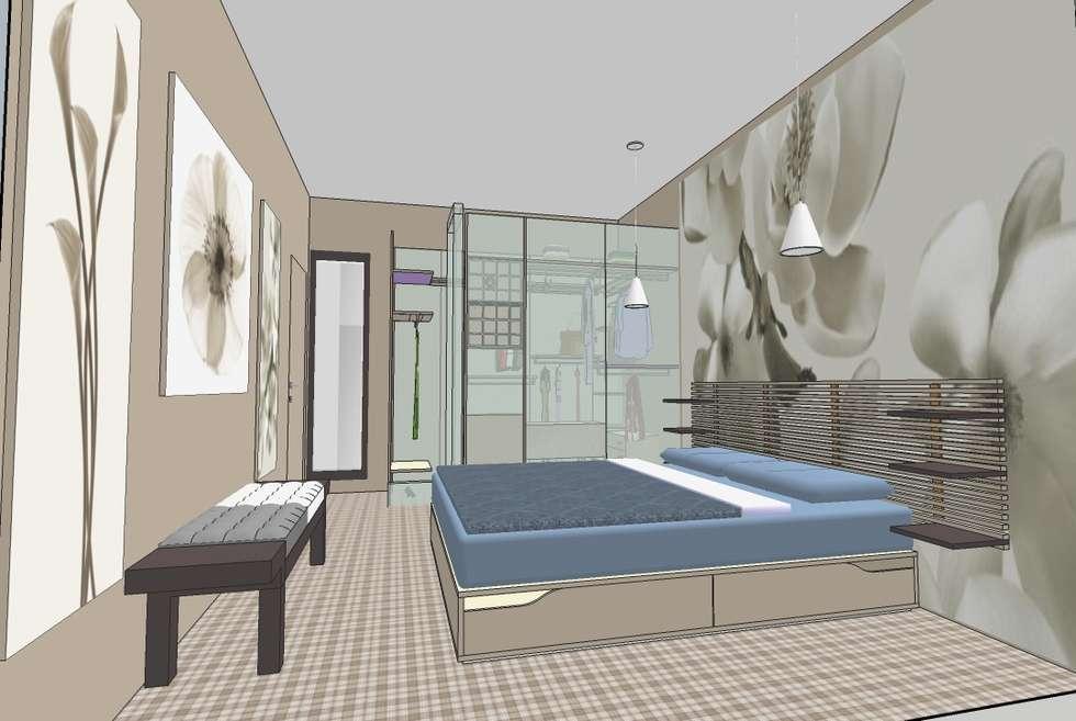 Camera da letto con cabina armadio: Camera da letto in stile in stile Moderno di INTERNO 75