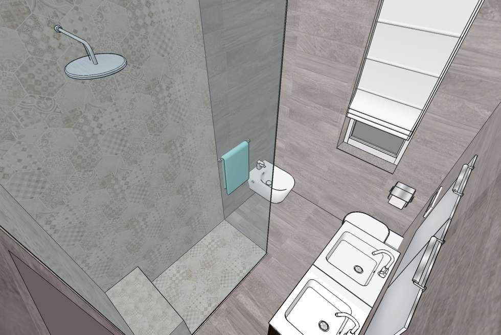 Doccia Walk in: Bagno in stile in stile Moderno di INTERNO 75