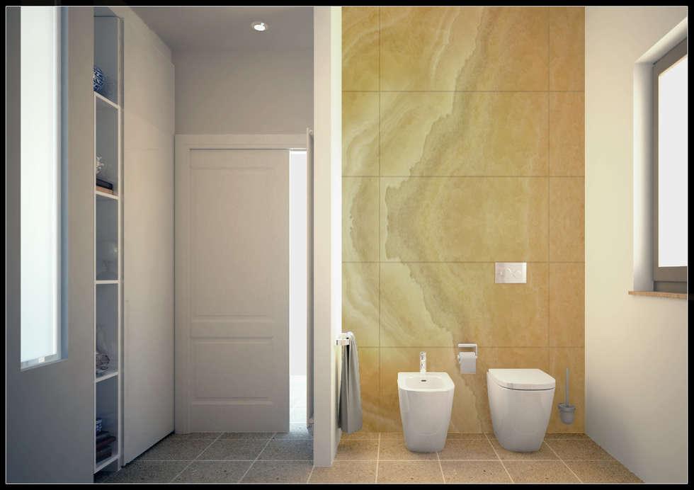 Ingresso e parete sanitari _ Bagno zona giorno: Bagno in stile in stile Moderno di AG Interior Design