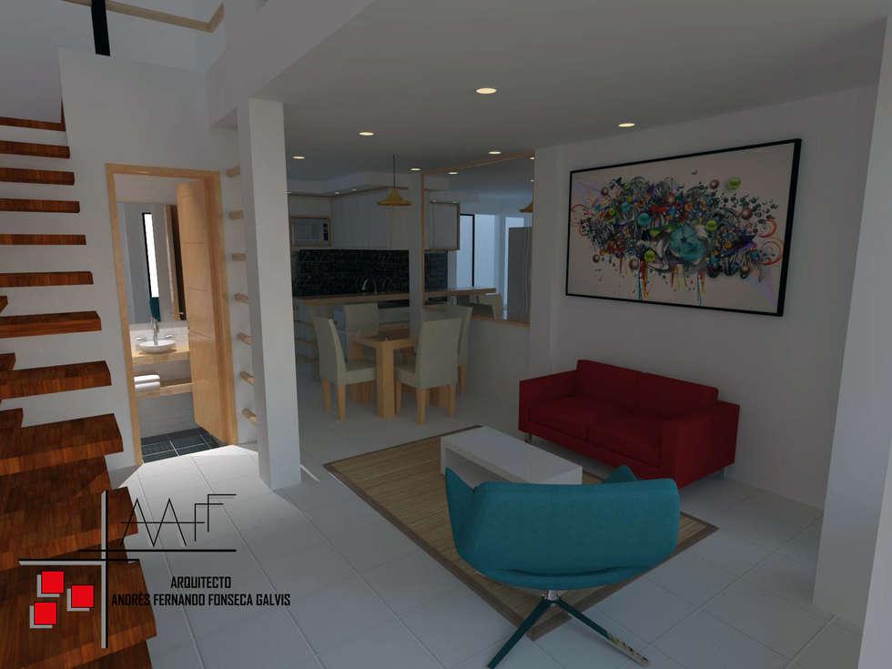 Proyecto Casa Ospina: Salas de estilo moderno por Arquitecto Andrés Fonseca