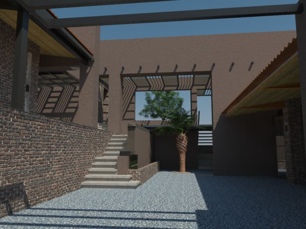 Patio: Casas campestres de estilo  por Bustos + Quintero arquitectos