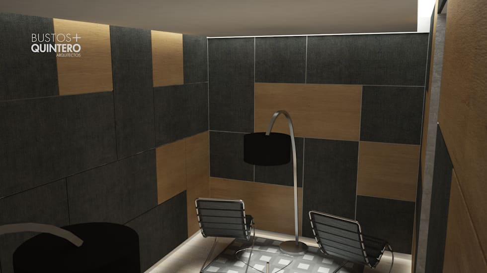 Sala descanso : Salas de estilo moderno por Bustos + Quintero arquitectos