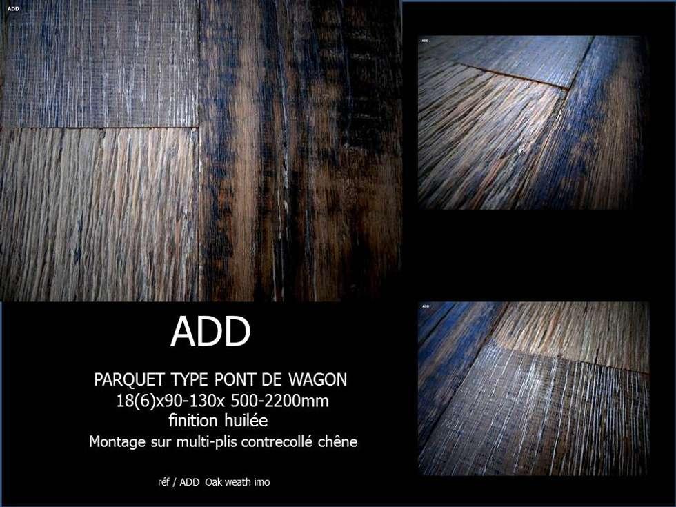 parquet type pont de wagon contrecollé chêne , plusieurs couleurs, bois type industriel montage sur multi-plis: Murs de style  par ADD