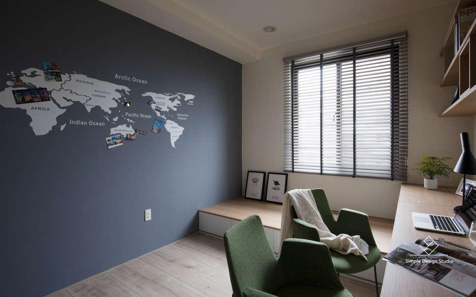 書房:  書房/辦公室 by 極簡室內設計