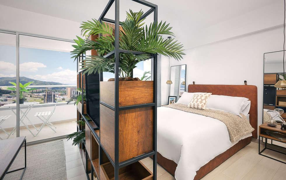 Division area social y habitacion: Habitaciones de estilo moderno por Maria Mentira Studio