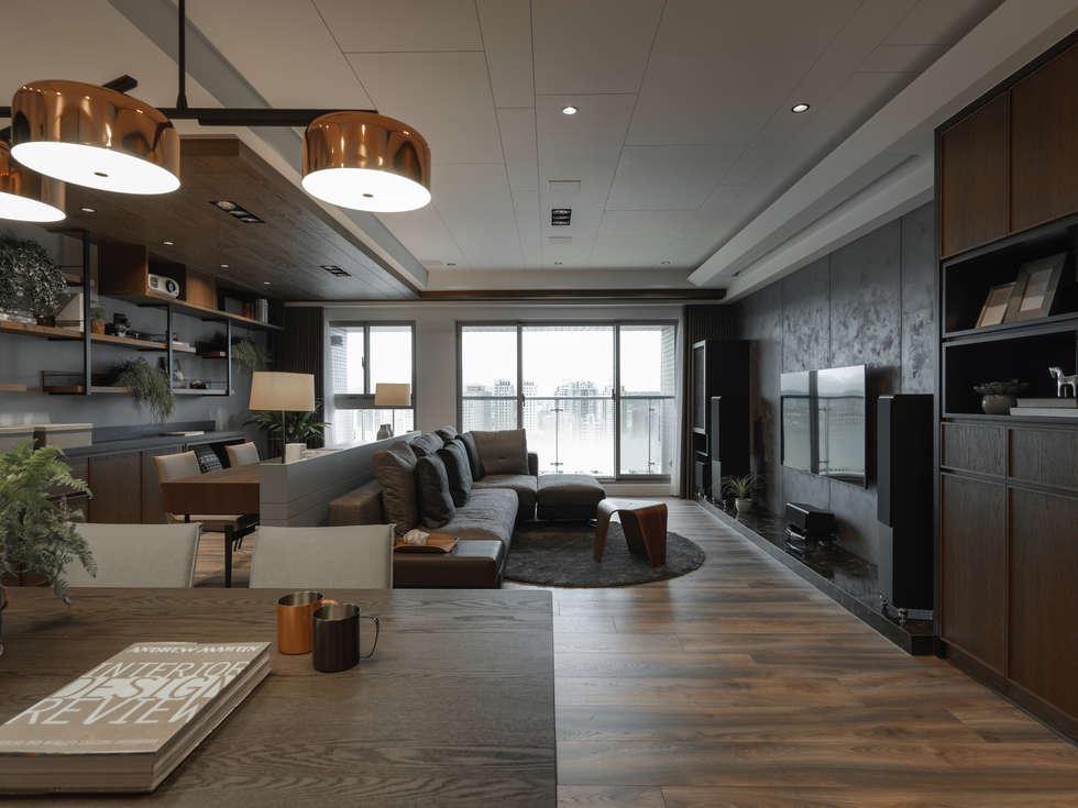 開放式規劃:  客廳 by 存果空間設計有限公司