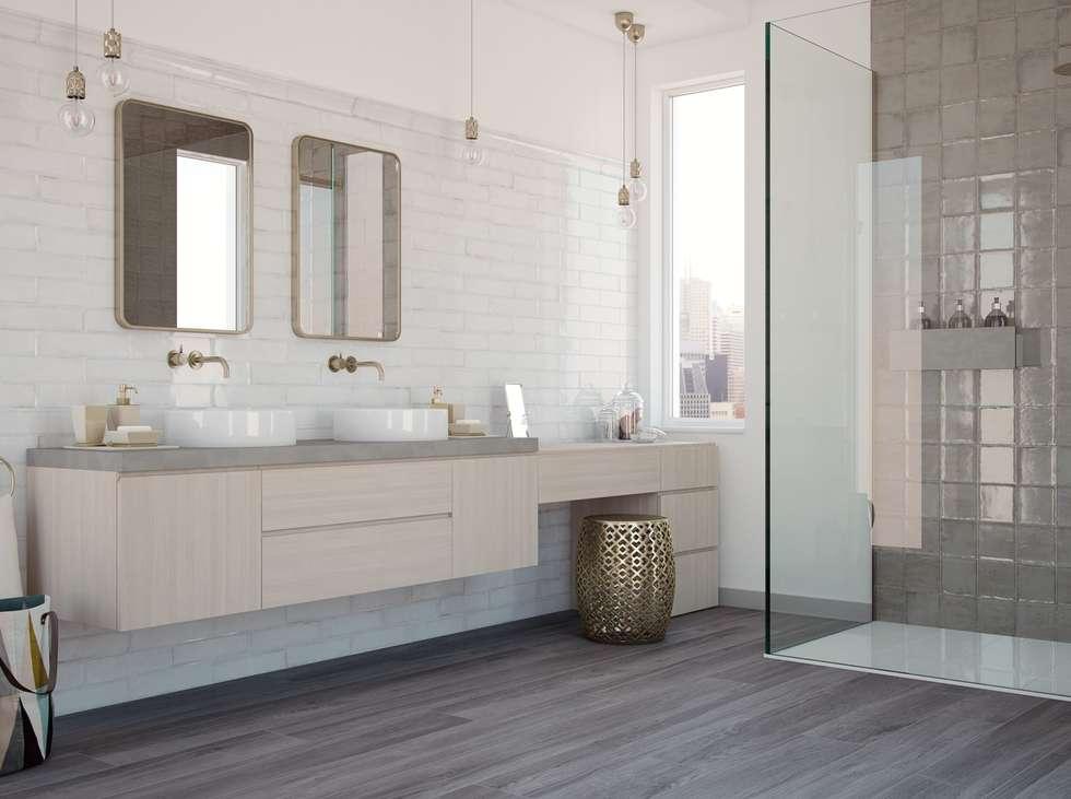 Wandfliesen im shabby-chic look im badezimmer: moderne badezimmer ...