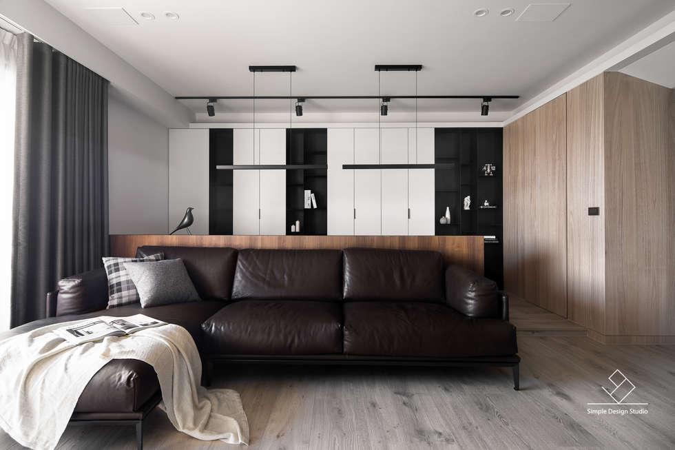 客廳書房區:  客廳 by 極簡室內設計