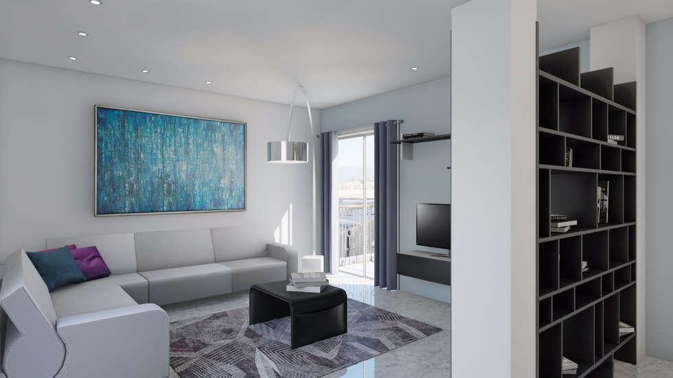 Vista del soggiorno: Soggiorno in stile in stile Moderno di Ing. Arch. Debora Piazza