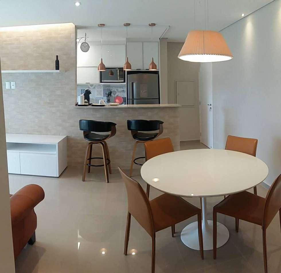Cozinha Americana Com Sala De Jantar Moderna Imagem Marcenaria  ~ Lustre Para Cozinha Americana