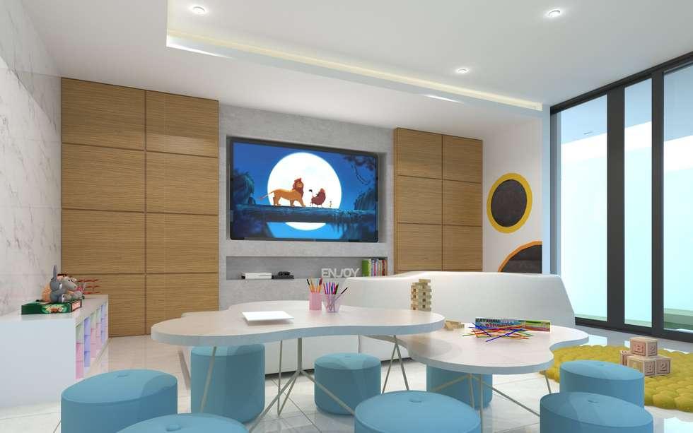 Cuarto de juegos 2: salas multimedia de estilo minimalista por ...