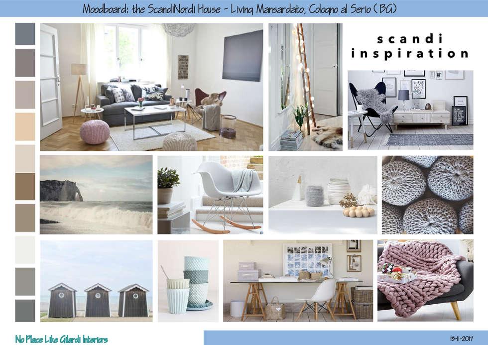Moodboard The ScandiNordi House: Soggiorno in stile in stile Scandinavo di Gilardi Interiors on Staging
