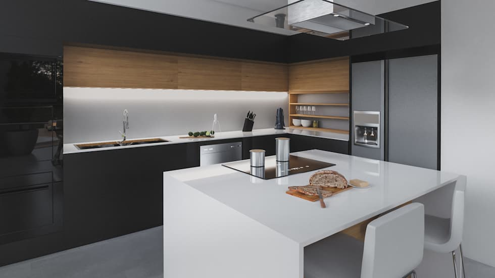 cocina casa vega : Cocinas de estilo moderno por Adrede Diseño