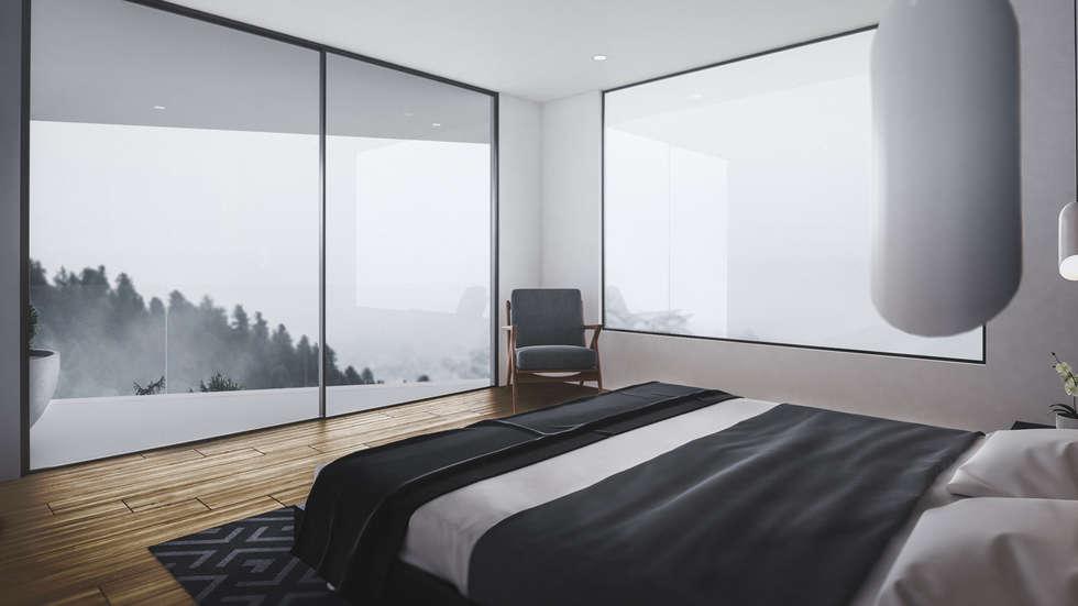 habitacion principal: Habitaciones de estilo moderno por Adrede Diseño