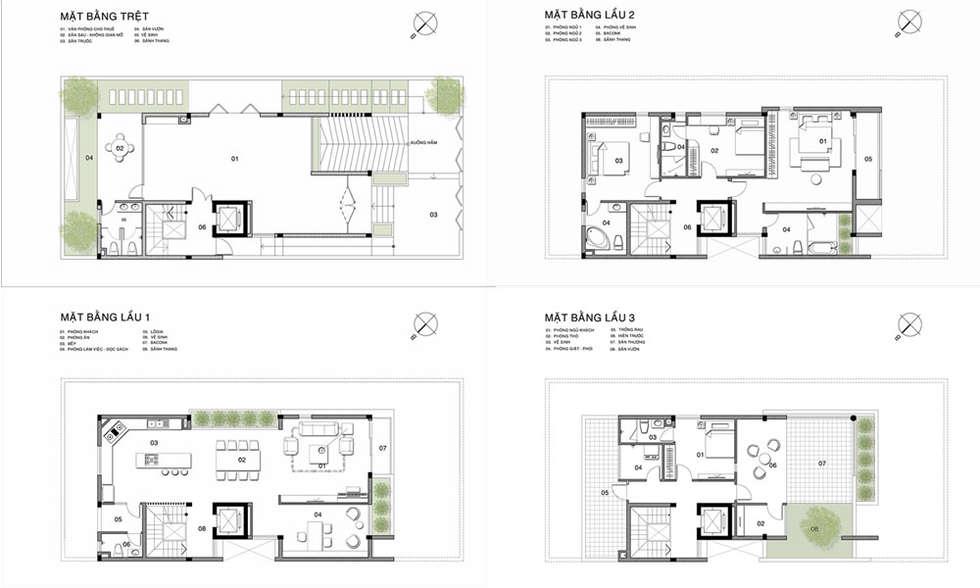 mặt bằng kiến trúc nhà phố, biệt thự phố:  Sàn by thiết kế kiến trúc CEEB