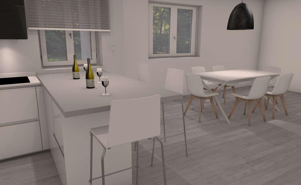 Penisola con sgabelli cucina in stile in stile moderno di g s