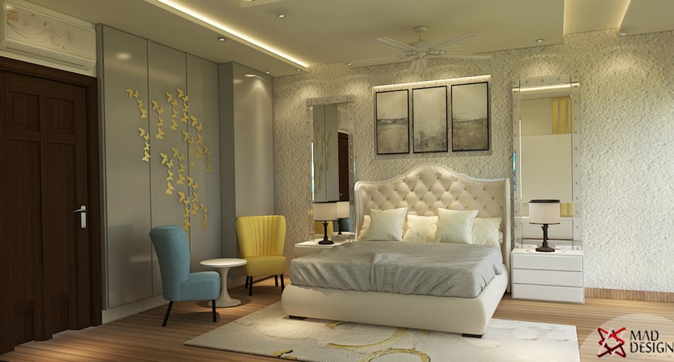 5BHK PROJECT @PRATEEK STYLOME BY MAD DESIGN: minimalistic Bedroom by MAD DESIGN