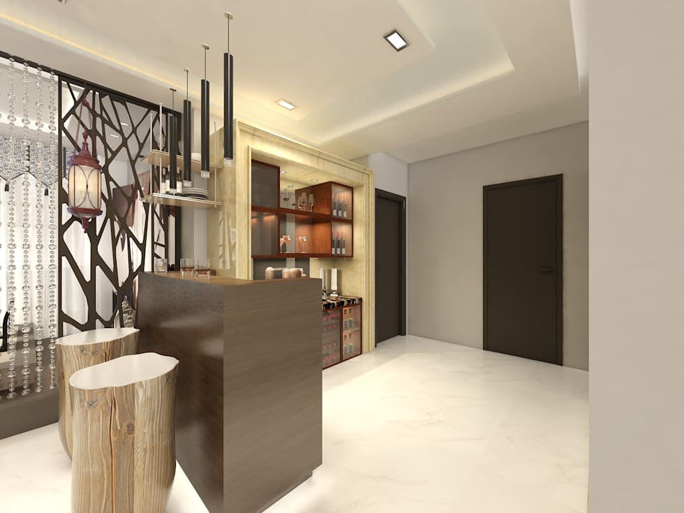 Bar Area: modern Living room by Regalias India Interiors & Infrastructure