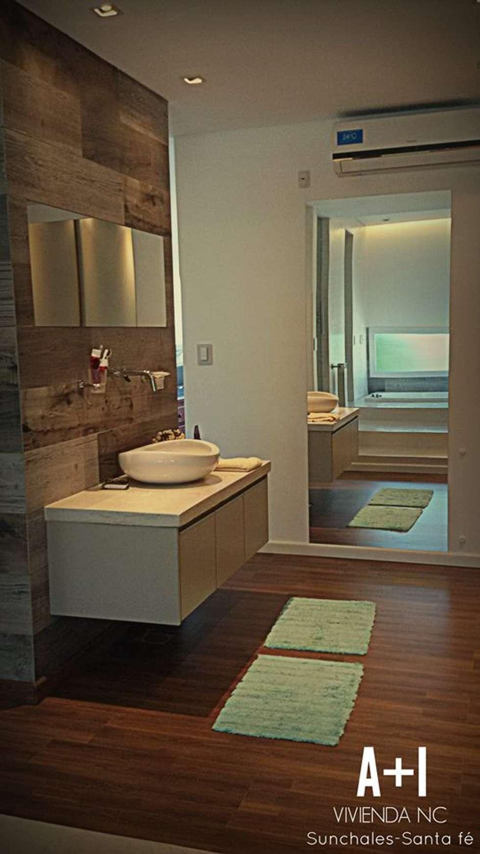 Ante baño y Vestidor : Baños de estilo moderno por Estudio A+I