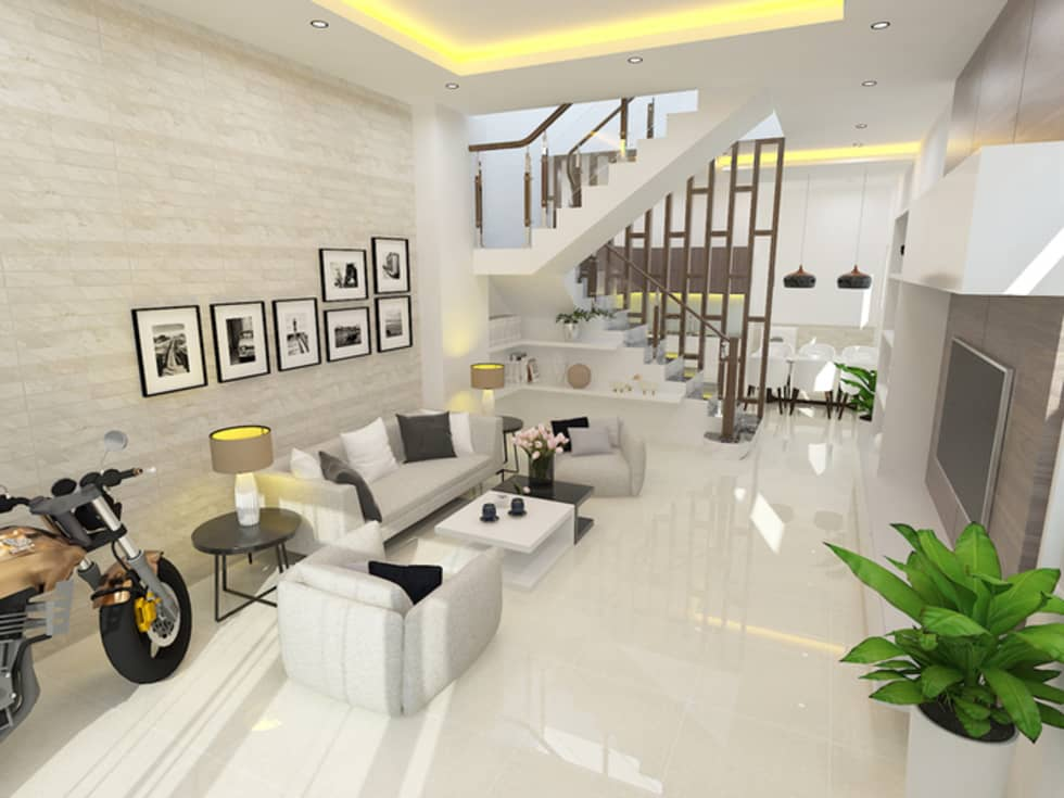 Không gian sinh hoạt chung với thiết kế nội thất sang trọng, tiện nghi:  Phòng khách by Công ty TNHH Xây Dựng TM – DV Song Phát