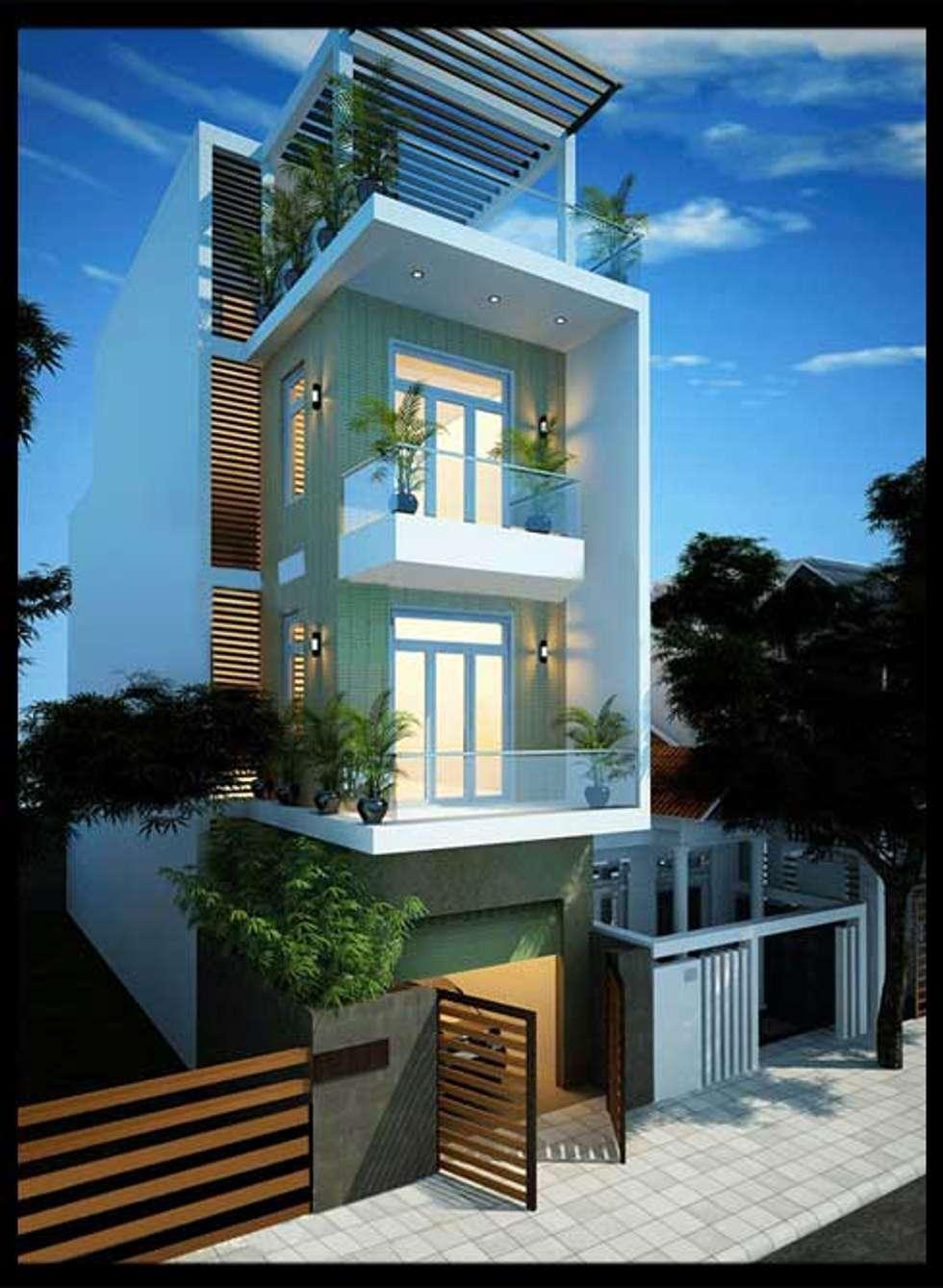 Mặt tiền mẫu nhà đẹp 3 tầng 1 tum diện tích 5x18m:  Nhà gia đình by Công ty TNHH Xây Dựng TM – DV Song Phát