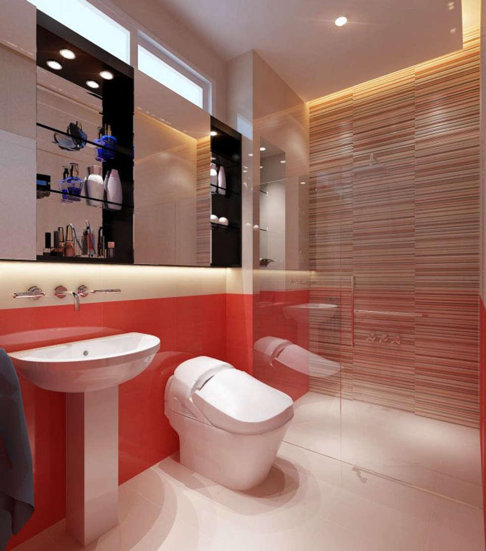 Phối cảnh nội thất tầng 3:  Phòng tắm by Công ty TNHH Xây Dựng TM – DV Song Phát