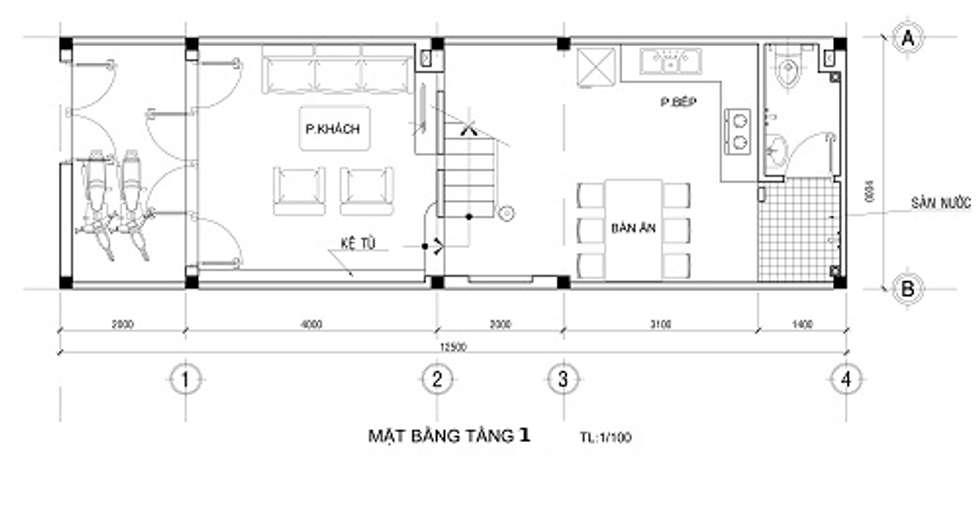 Bảng vẽ thiết kế mặt bằng nhà 2 tầng:  Nhà by Công ty TNHH Xây Dựng TM – DV Song Phát
