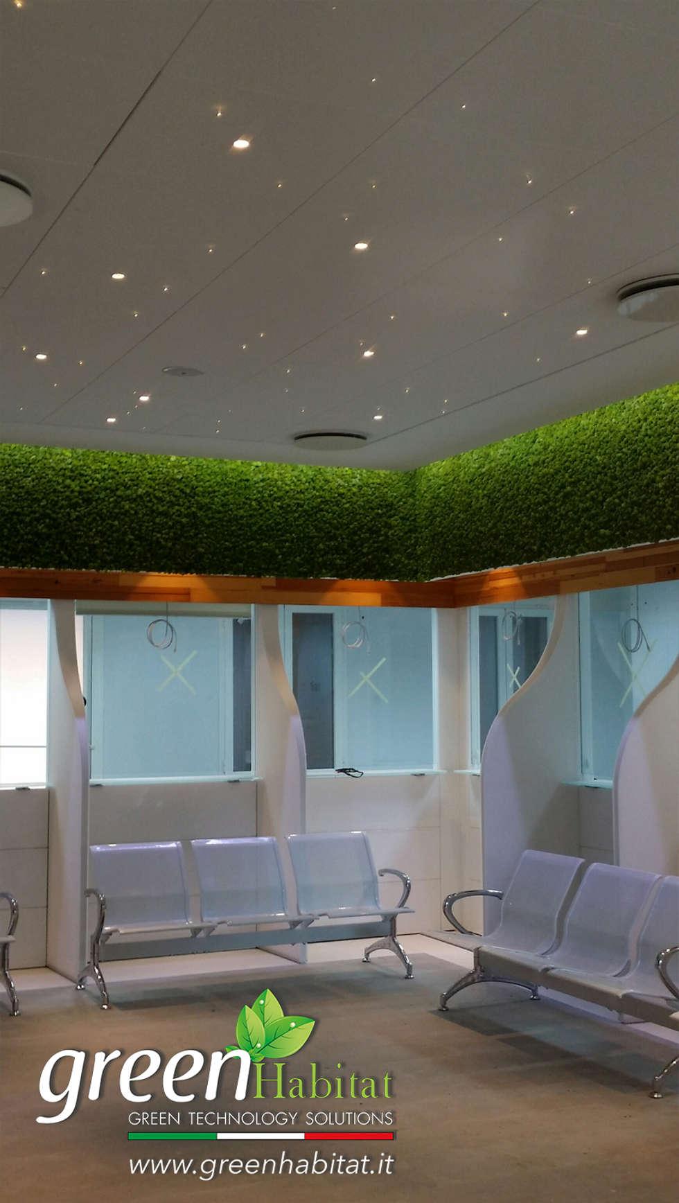 GIARDINO VERTICALE SALA D'ATTESA: Ingresso & Corridoio in stile  di Green Habitat s.r.l.