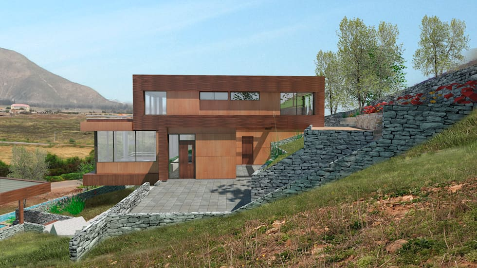 Fachada acceso cocina : Casas de madera de estilo  por Uno Arquitectura