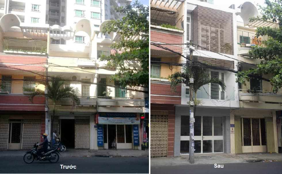 Mặt tiền trước và sau khi cải tạo:  Nhà by Công ty TNHH Xây Dựng TM – DV Song Phát