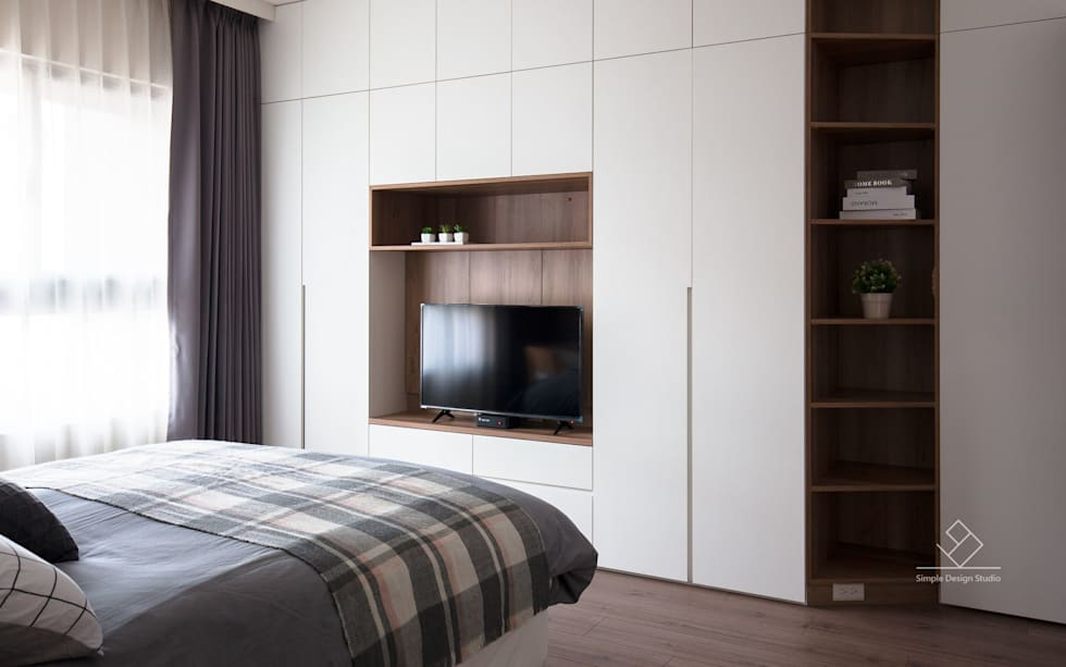 主臥室:  臥室 by 極簡室內設計