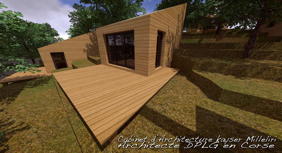 Résidence écologique en Corse: Cabanes en bois de style  par Cabinet d'Architecture Kayser Milleliri, Architecte DPLG en Corse