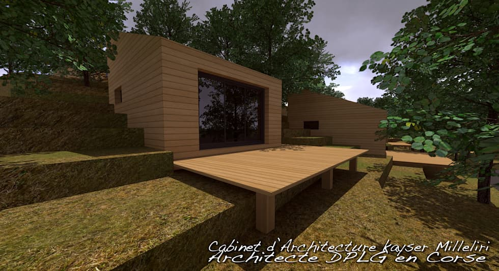 résidence écologique en Corse: Maisons de style de style Moderne par Cabinet d'Architecture Kayser Milleliri, Architecte DPLG en Corse