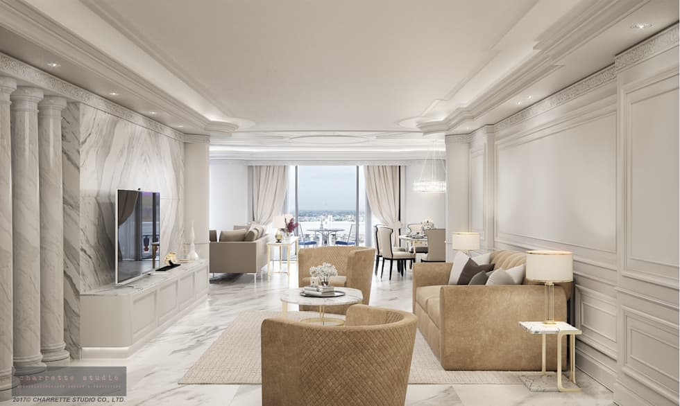 Lobby:  ห้องนั่งเล่น by Charrette Studio Co., Ltd.