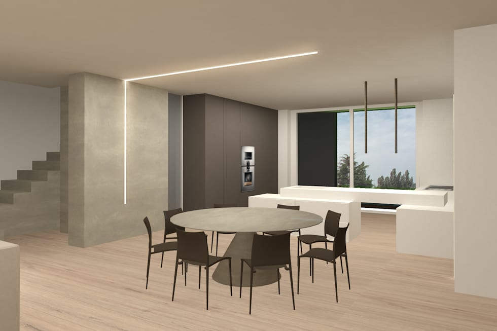 cucina-sala da pranzo: Sala da pranzo in stile in stile Moderno di Giemmecontract srl.