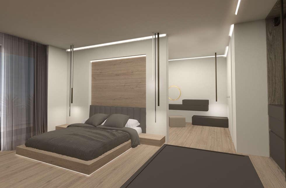 camera matrimoniale: Camera da letto in stile in stile Moderno di Giemmecontract srl.