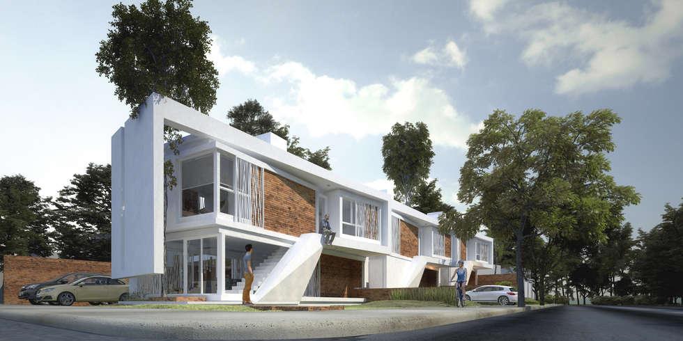 Vista del conjunto: Casas de estilo moderno por síncresis arquitectos