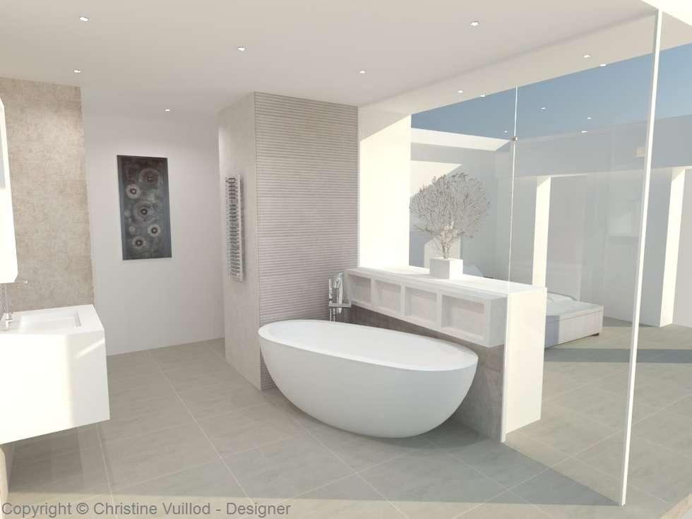 Vue 3D avant-projet: Salle de bains de style  par Christine Vuillod, Architecte d'intérieur