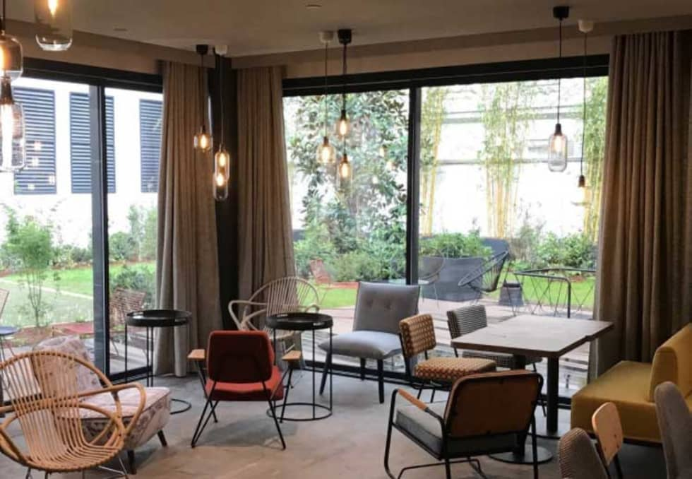 Jardinière carré cubique Image'In en Fibre ciment: Hôtels de style  par ATELIER SO GREEN