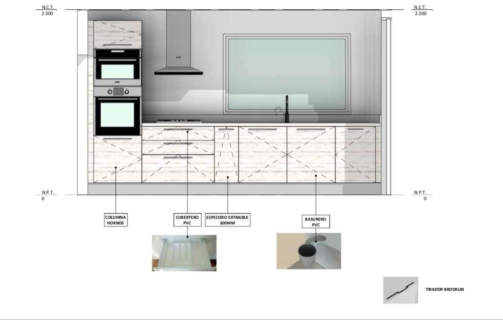 Vivienda Premium 115m2 Fundo Loreto.: Muebles de cocinas de estilo  por Territorio Arquitectura y Construccion