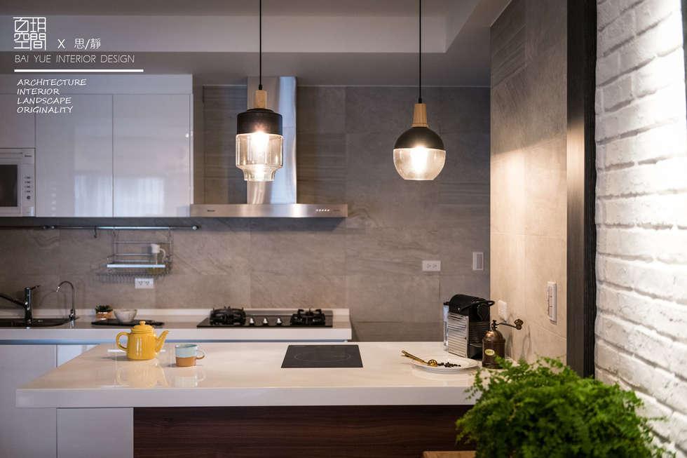 百玥空間設計 ─ 思/靜 ─ 廚房:  系統廚具 by 百玥空間設計