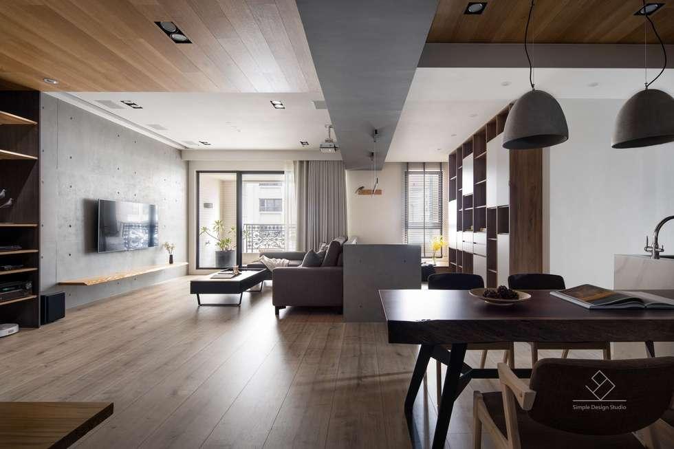 公共空間:  客廳 by 極簡室內設計
